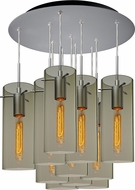 Bruck 240011MC-11-ELV-110866MC-IN Luca Modern Matte Chrome / Smoky Multi Pendant Lighting Fixture