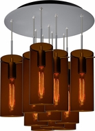Bruck 240011MC-11-ELV-110867MC-IN Luca Modern Matte Chrome / Bourbon Multi Hanging Light Fixture