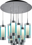 Bruck 240011MC-11-ELV-223714MC Silva Modern Matte Chrome / Turquoise LED Multi Pendant Lighting Fixture