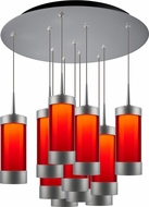 Bruck 240011MC-11-ELV-223715MC Silva Modern Matte Chrome / Red LED Multi Hanging Light Fixture