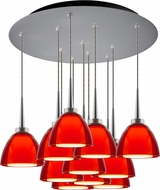 Bruck 240011MC-11-ELV-223724MC Rainbow Modern Matte Chrome / Red LED Multi Hanging Pendant Light