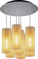 Bruck 240011MC-7-ELV-110114MC Sierra Contemporary Matte Chrome / Amber Multi Pendant Light Fixture