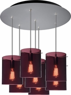 Bruck 240011MC-7-ELV-110823MC Chianti Contemporary Matte Chrome / Brown & Blue Multi Pendant Lighting
