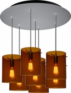 Bruck 240011MC-7-ELV-110825MC-IN London Contemporary Matte Chrome / Bourbon Multi Lighting Pendant