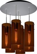 Bruck 240011MC-7-ELV-110867MC-IN Luca Contemporary Matte Chrome / Bourbon Multi Pendant Hanging Light