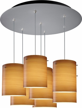 Bruck 240011MC-7-ELV-110874MC Regal Contemporary Matte Chrome / Brown Multi Pendant Lighting
