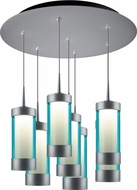 Bruck 240011MC-7-ELV-223714MC Silva Contemporary Matte Chrome / Turquoise LED Multi Pendant Light Fixture