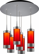 Bruck 240011MC-7-ELV-223715MC Silva Contemporary Matte Chrome / Red LED Multi Pendant Hanging Light