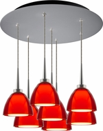 Bruck 240011MC-7-ELV-223724MC Rainbow Contemporary Matte Chrome / Red LED Multi Hanging Pendant Lighting
