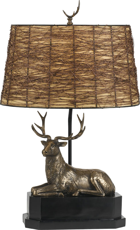Superior Cal BO 2597TB Deer Country Cast Bronze Table Top Lamp. Loading Zoom