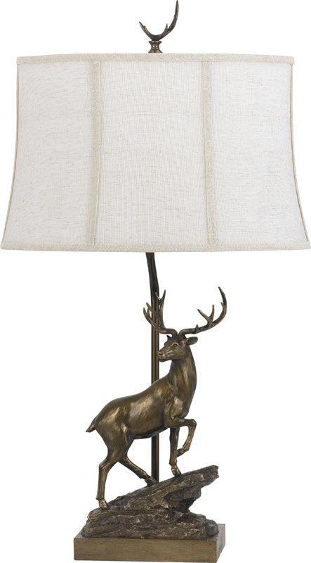 Cal BO 2598TB Deer Rustic Cast Bronze Side Table Lamp. Loading Zoom