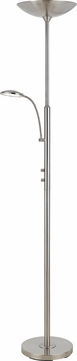 Cal BO-2617TR Modern Brushed Steel LED Torchiere Lamp with Reading Light