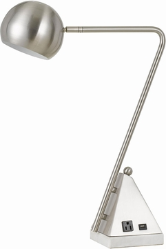 Cal BO-2763DK Delta Contemporary Brushed Steel Study Lamp