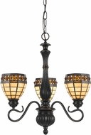 Cal FX-2332-3 Tiffany Antique Bronze Mini Chandelier Light