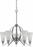 Cal FX-3508-5 Canroe Contemporary Brushed Steel Ceiling Chandelier