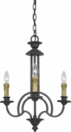 Cal FX-3513-3 Elberton English Bronze Mini Hanging Chandelier