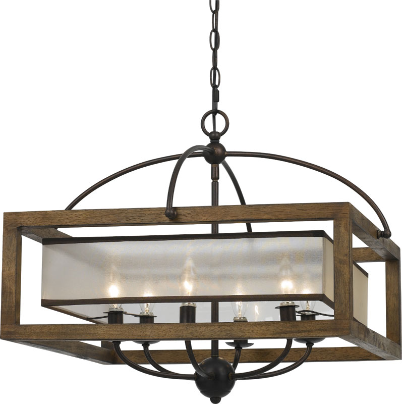 Cal FX-3536-6 Mission Wood Chandelier Light