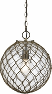 Cal FX-3576-1P Rope Rustic Glass Pendant Lamp