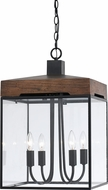 Cal FX-3581-4 Antonio Modern Dark Bronze/Wood Pendant Lamp