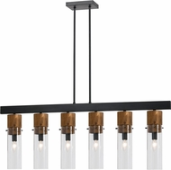 Cal FX-3583-6 Spheroid Modern Wood/Dark Bronze Kitchen Island Lighting