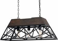 Cal FX-3585-3 Antonio Contemporary Wood/Dark Bronze Kitchen Island Light