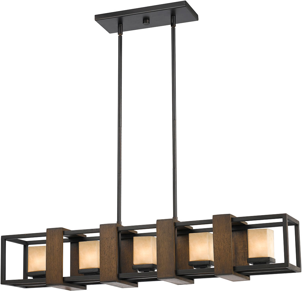 Cal fx 3588 5 island modern wood dark bronze halogen Modern kitchen light fixtures