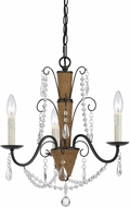 Cal FX-3592-3 Antigo Rattan/Crystal Mini Lighting Chandelier