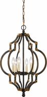 Cal FX-3593-6 Howell Modern Iron/Antiqued Gold Foyer Light Fixture