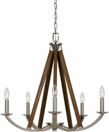 Cal FX-3604-5 Monica Brushed Steel Chandelier Lamp