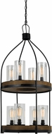 Cal FX-3614-8 Chardon Contemporary Iron / Wood Mini Chandelier Light