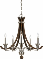 Cal FX-3619-5 Parkside Brushed Steel / Wood Lighting Chandelier