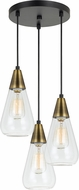Cal FX-3623-3P Ellyn Modern Antique Brass Multi Pendant Lighting Fixture