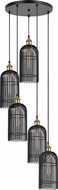 Cal FX-3626-5P Birdcage Modern Dark Bronze / Antique Brass Multi Pendant Lighting