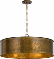 Cal FX-3637-5 Rochefort Distress Gold Drum Pendant Light Fixture
