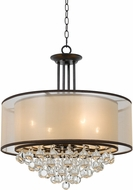 Cal FX-3644-4 Tiffin Bronze Drum Drop Ceiling Light Fixture