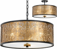 Cal FX-3649-3 Tyndall Antique Gold Drum Pendant Lamp / Ceiling Lighting Fixture