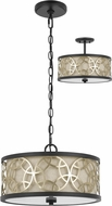 Cal FX-3661-2 Carmel Rust / Antique Brass Drum Pendant Lighting / Ceiling Light Fixture