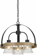 Cal FX-3662-3 Bell Contemporary Black / Wood Mini Chandelier Lighting