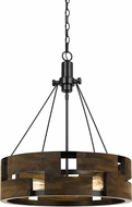 Cal FX-3670-3 Bradford Modern Smoky Wood Drum Hanging Light Fixture