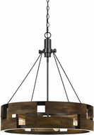 Cal FX-3670-6 Bradford Contemporary Smoky Wood Drum Drop Lighting