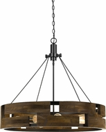 Cal FX-3670-9 Bradford Modern Smoky Wood Drum Drop Ceiling Lighting