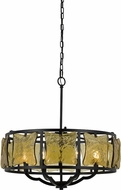 Cal FX-3677-6 Revenna Modern Black Drum Pendant Light