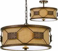 Cal FX-3681-3 Ragusa Contemporary Rust Drum Pendant Light Fixture / Flush Mount Lighting
