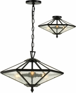 Cal FX-3684-3 Nianda Contemporary Black Hanging Pendant Light / Overhead Lighting