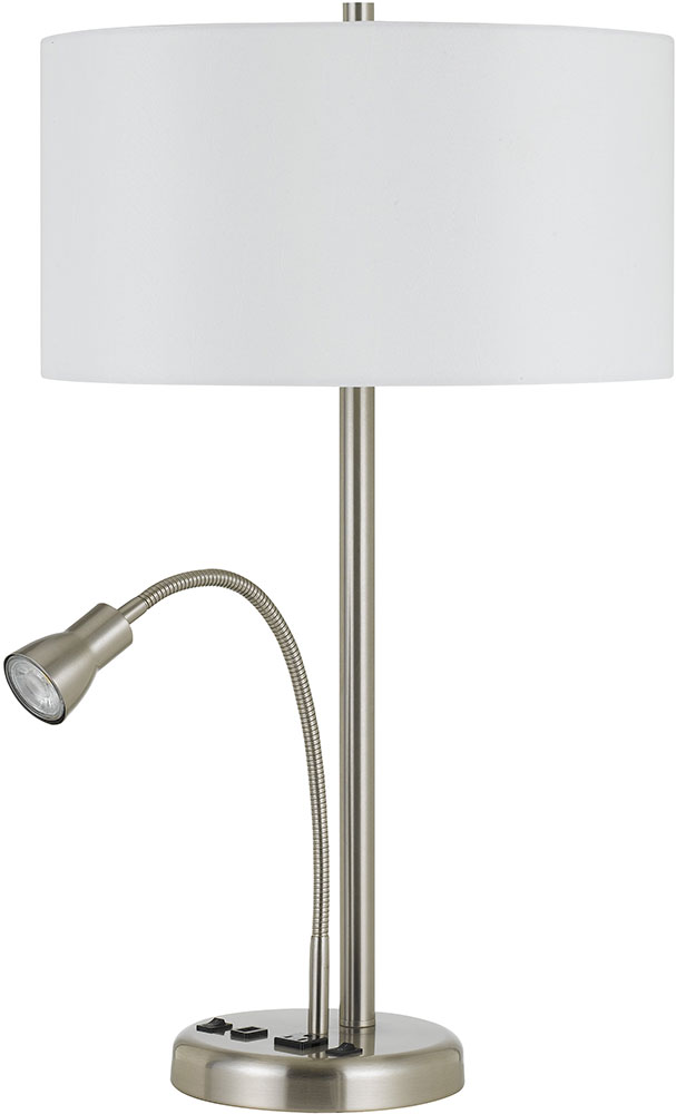 Cal LA2698TB1BS Gooseneck Brushed Steel Table Top Lamp w LED