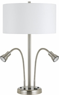 Cal LA-2698TB-2-BS Gooseneck Brushed Steel Table Lamp w/ LED task lights
