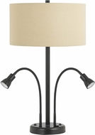Cal LA-2698TB-2-DB Gooseneck Dark Bronze Table Light w/ LED task lights