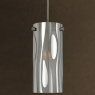 Cal UP-1020-6-BS Uni-Pack Contemporary Brushed Steel Smoke and Chrome Mini Hanging Pendant Lighting