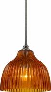 Cal UP-1070-6-BS Uni-Pack Contemporary Brushed Steel Amber Mini Pendant Hanging Light