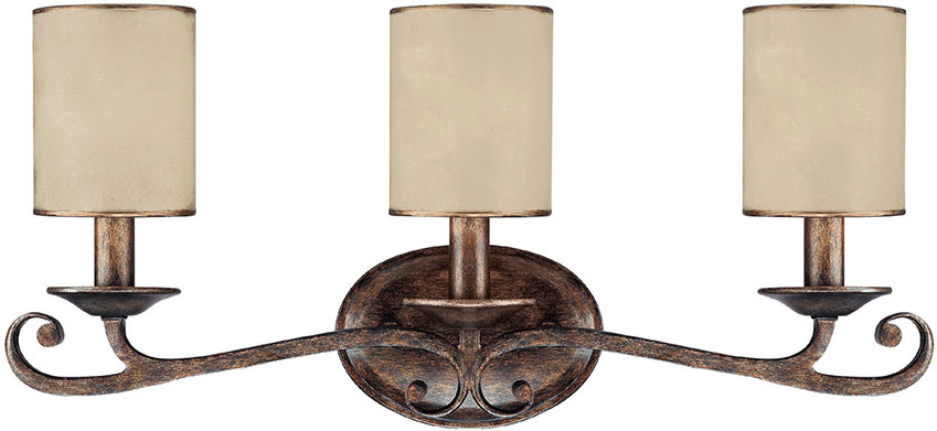 Rustic Wall Sconce For Bathroom : Capital Lighting 1118RT-510 Reserve Traditional Rustic 3-Light Bath Wall Sconce - CPT-1118RT-510